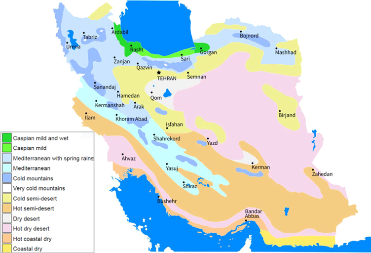 Time of Visit and season change in Iran in map